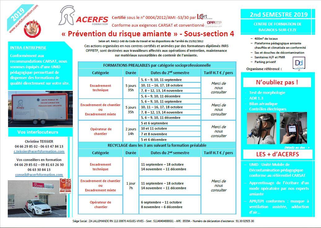 calendrier Amiante SS4 -2nd semestre 2019-Bagnols-Cèze