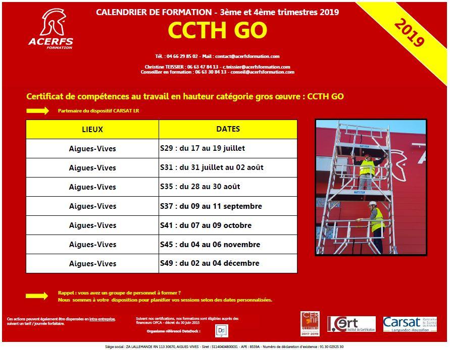 Calendrier CCTH GO - 2nd semestre 2019 - Aigues-Vives