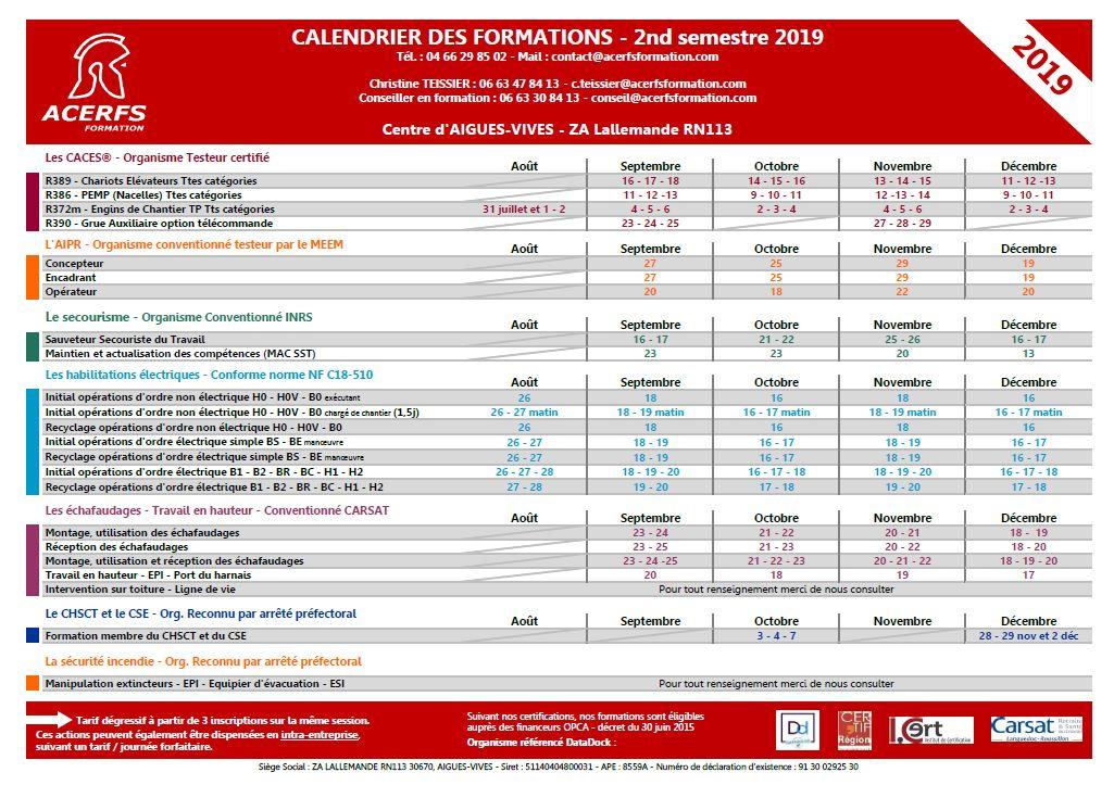 Calendrier des formation - 2nd semestre  2019 - Aigues Vives