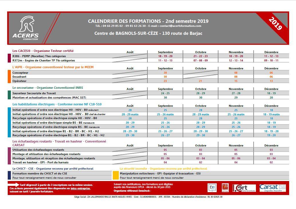 Calendrier des formation - 2nd semestre  2019 - Bagnols-Cèze